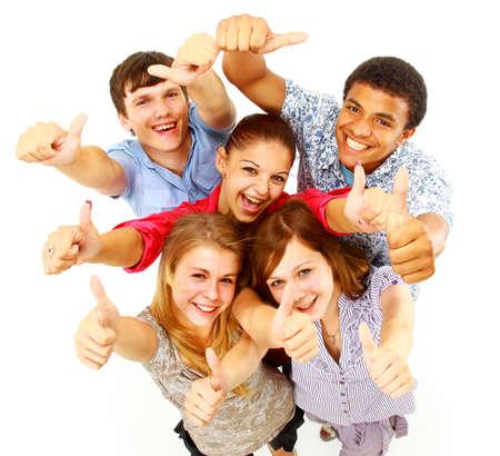 groupe occasionnel de gens heureux isolé sur blanc Banque d'images