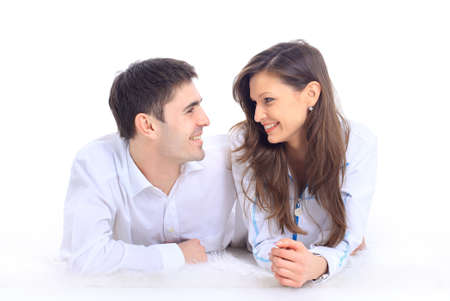 Close up portrait of a happy young couple  photo