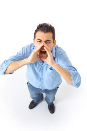 screaming head: man stand on a isolated background