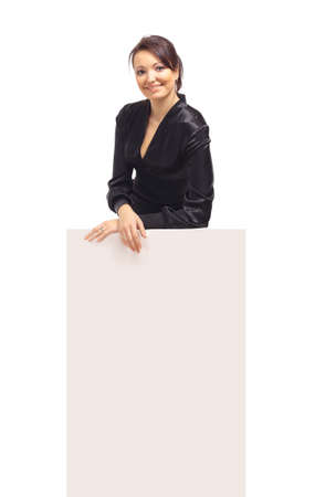 Business woman showing blank sign board  photo