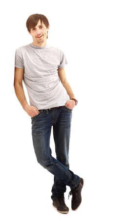 mani incrociate: giovane uomo isolato su sfondo bianco Archivio Fotografico