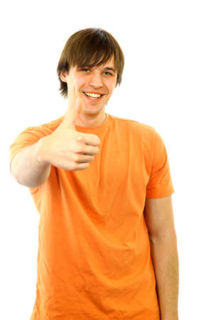 Portrait of a smart young guy gesturing a thumbs up on white background   Stock Photo - 11480736