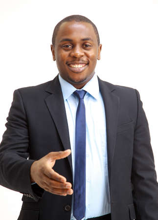 Portrait of an African American business man with an open hand ready to seal a deal  photo