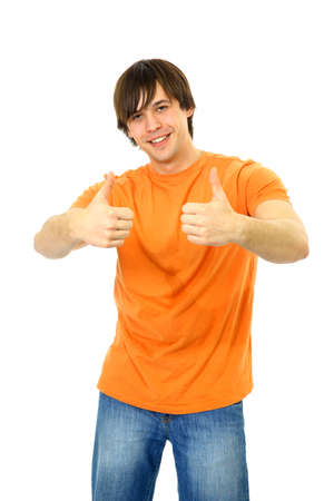 Portrait of a smart young guy gesturing a thumbs up on white background   Stock Photo - 11480715