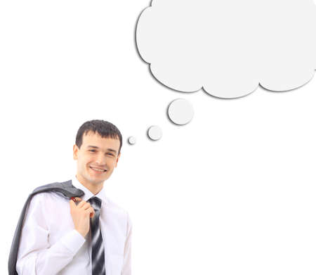 businessman thinking with a thought bubble made of clouds  photo