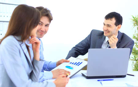 Group of business people in a meeting at office - Staff meeting Stock Photo - 11480438