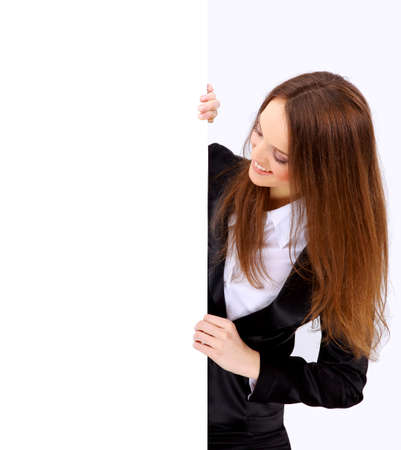 woman from behind: Isolate of a business woman standing beside a blank board Stock Photo