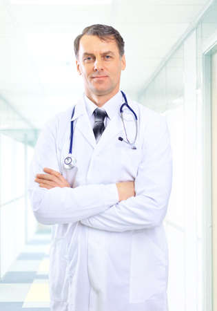 medical physician: senior handsome man doctor Stock Photo