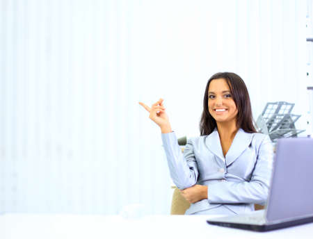 Happy cute brunette looking away with a smile Stock Photo - 11480853