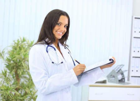 attractive female: Beautiful young doctor with stethoscope