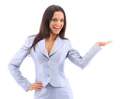 point of sale: Young attractive woman holds palm for blank ad space