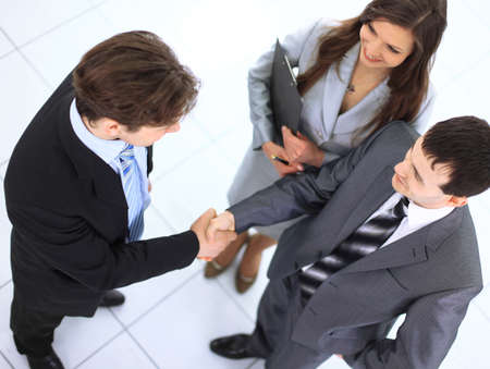 handshaking: Business handshake and trust taken from above