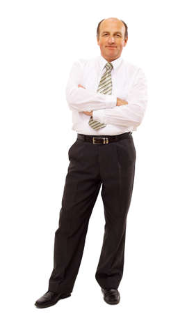 mature businessman: businessman isolated on white bacground  Stock Photo