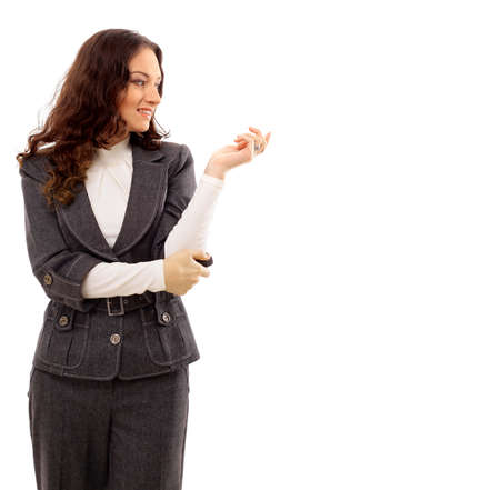 corporate women: portrait of a pretty young business woman standing isolated on white background