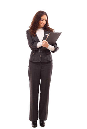 white color worker: Young business woman with a map case  Stock Photo