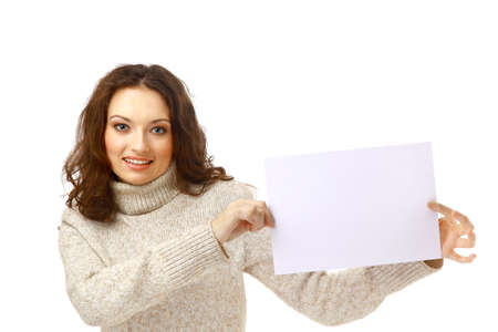 Young woman holding an empty billboard over white background photo