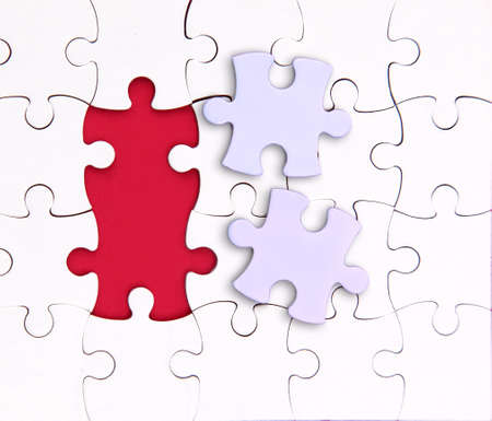 There is no two elements , red, puzzle Stock Photo - 11618175