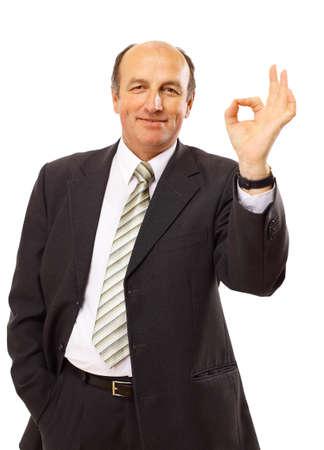 ok sign: businessman isolated on white bacground  Stock Photo