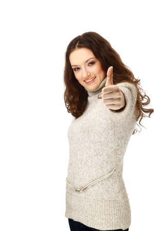 woman smiling with her thumbs up - isolated on white background photo