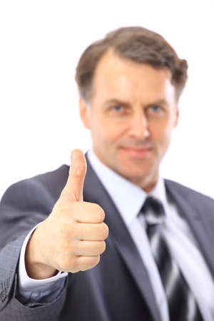 business man going thumb up, isolated on white  photo