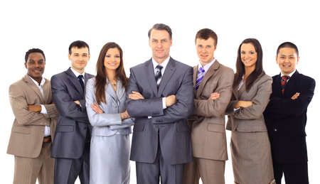 team winner: Business team and a leader - Mature business man with his colleagues in the white background  Stock Photo