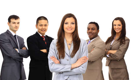 Businesswoman smiling holding a portfolio with her teamwork behind isolated on white  photo