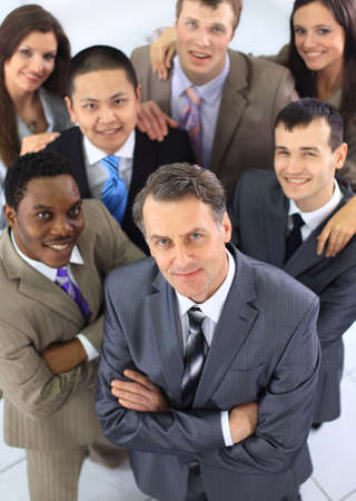 Top view of business people with their hands together photo