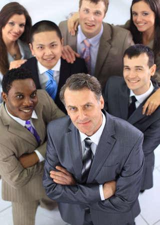 multi race: Vista desde arriba de la gente de negocios con las manos juntas