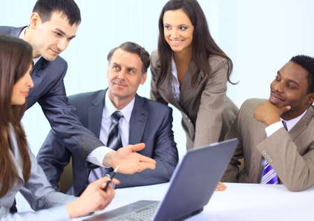 Multi ethnic business executives at a meeting discussing a work Stock Photo - 11627680