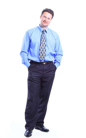 principal: full-length portrait of stylish businessman. isolated on white background