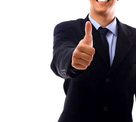 young business man going thumb up, isolated on white   photo