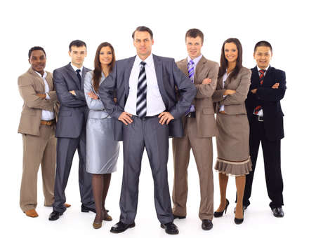 businessteamwork: Confident business executive with his team in the background