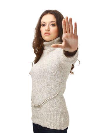 signalering: Woede vrouw signalering stopteken, geïsoleerd op witte achtergrond Stockfoto
