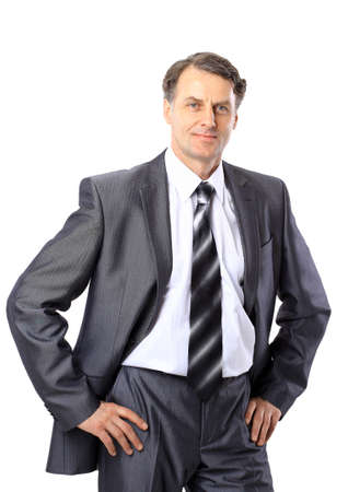 Portrait of a senior business man isolated on white.  photo