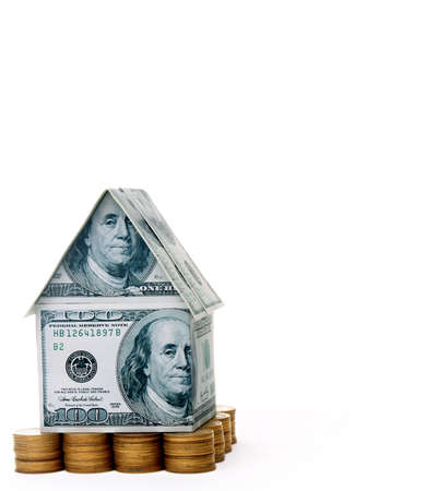 refinance:  The house of money Stock Photo