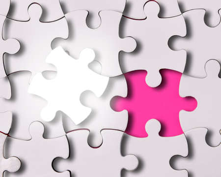 abstract puzzle background with one piece missing  photo