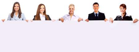 jonge ondernemers: groep van mensen uit het bedrijfsleven met een banner Stockfoto