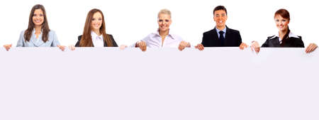jovenes empresarios: grupo de personas de negocios, con un cartel Foto de archivo