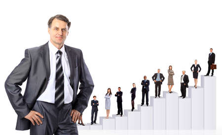 tendency: Business people team and diagram. Isolated over white background