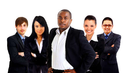 Leader and her team, Young attractive business people with focus only on businesswoman in the middle Stock Photo - 11669469