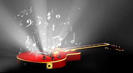 electric guitar with music notes flowing  photo