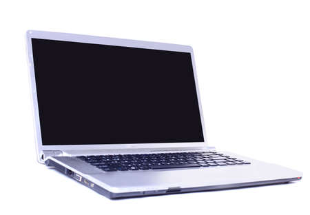 side light: Modern laptop isolated on white with reflections on glass table.