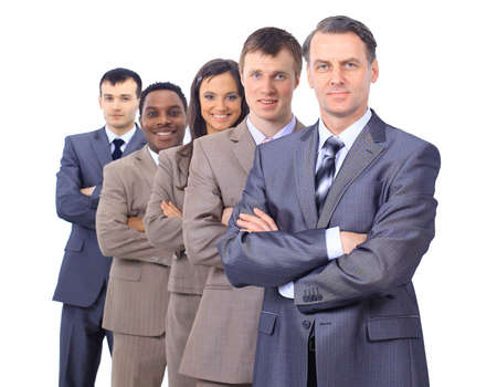 prospect: business man and his team isolated over a white background  Stock Photo