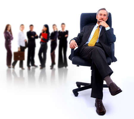 businessteamwork:  business man and his team isolated over a white background