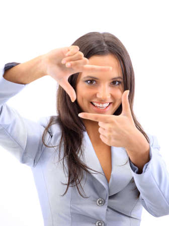 bright future: young woman framing her hands, over white