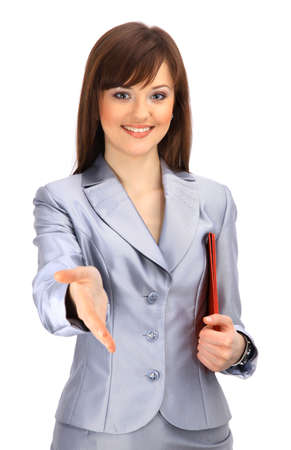 greets: Portrait of a woman with an open hand ready to seal a deal Stock Photo