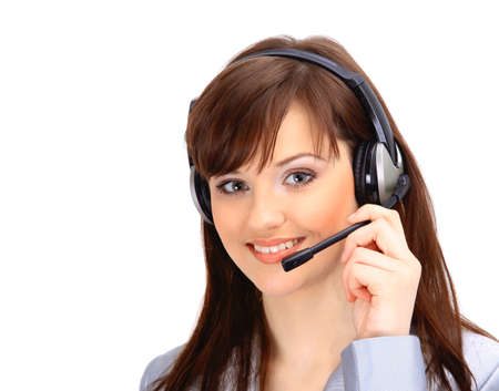call center people in isolated: Young and smiling operator isolated over white background
