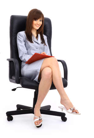 two wheel: contemporary office chair and businesswoman  Stock Photo