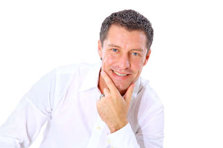 mid adult men: Closeup portrait of a senior man smiling on white background