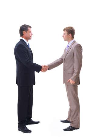 businessmen handshake: handshake isolated over white background Stock Photo